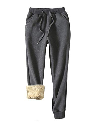 Yeokou Women's Warm Sherpa Lined Athletic Sweatpants Jogger Fleece Pants (Large, Grey)