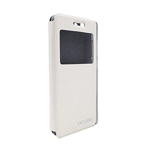 Prevoa ® 丨Flip PU S - View Funda Cover Case para DOOGEE X5 X5 Pro 5.0 Pulgada Smartphone - Blanco
