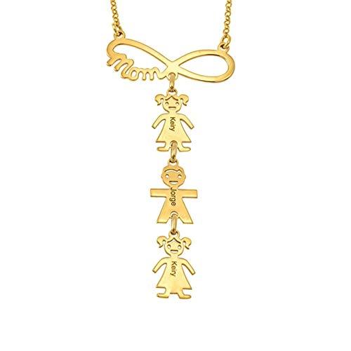TWinkle Collar Nombre Hijos Colgante Nombres de Madre y Collar de Niño y Niña Personalizado con Nombres de bebés Joyería de Plata(Oro-20)