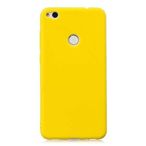 cuzz Custodia Huawei P8 Lite (2017)+{Film di Vetro temperato}Silicone TPU Cover Morbida Protettiva Custodia Ultra Sottile Leggero Cover-Giallo