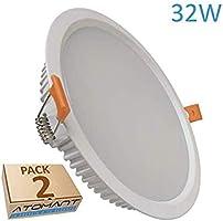 Pack 2x Panel Downlight LED redondo 32w, corte 205mm (standard). Color Blanco Neutro (4500K). 2800 lumenes reales....