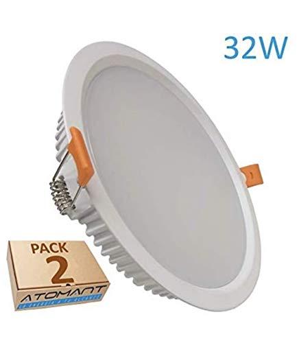 (LA) 2x Panel LED redondo 32w, corte 205mm (standard), 2800 lumenes reales. Driver incluido. (Blanco Frio (6500K), Pack 2x)