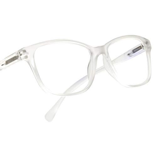 Leaead Lesebrille BluErase Linse Viereckiges Gestell Anti-Blaulicht Anti-Augenstraffung Anti-UV Computer/Handys Brille für Frauen/Männer (Nicht verschreibungspflichtig)(+2.00,Transparent)