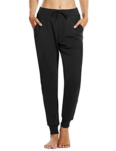 BALEAF Women's Winter Fleece Lined Joggers Thermal Sweatpants Warm Cotton Lounge Athletic Pocketed Track Pants Black M