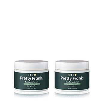 Pretty Frank Natural Deodorant Jar- Baking Soda Free Natural Deodorant for Women Men Teens – Paraben Sulfate Free Deodorant Cream with Coconut Oil Arrowroot Vitamin E Zinc – Eucalyptus Lemon 2pk