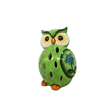Lightahead Solar Owl Light Ceramic Owl Powered by Solar LED Light for Park, Patio, Deck, Yard, Garden, Home, Pathway, Outside Landscape for decoration and celebration - Green