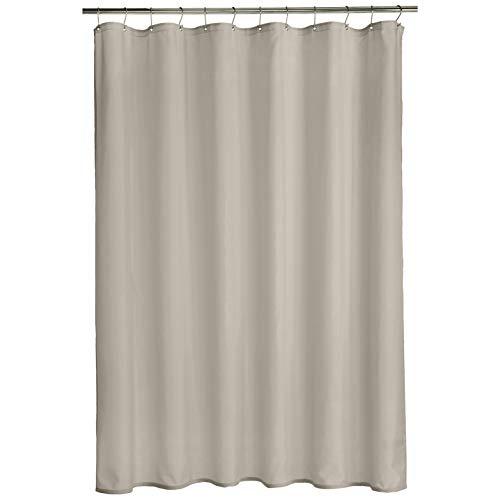 Amazon Basics - Cortina de ducha de poliéster estilo tafetán, gris tormenta, 183 x 183 cm