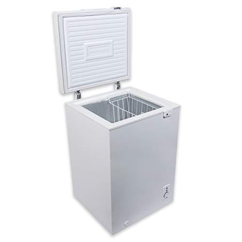 冷凍庫 家庭用 98L 上開き 小型 静音 大容量 省エネ 鍵付き ひとり暮らし 一人暮らし 温度調整 冷凍ストック まとめ買い 冷凍食品 節電 1年保証 白 ホワイト MAXZEN JF100ML01WH