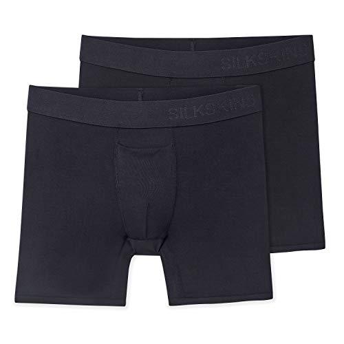 "Terramar Men's Standard Silkskins 6"" Inseam Air Cool Boxer Briefs with Fly, Black, Small"