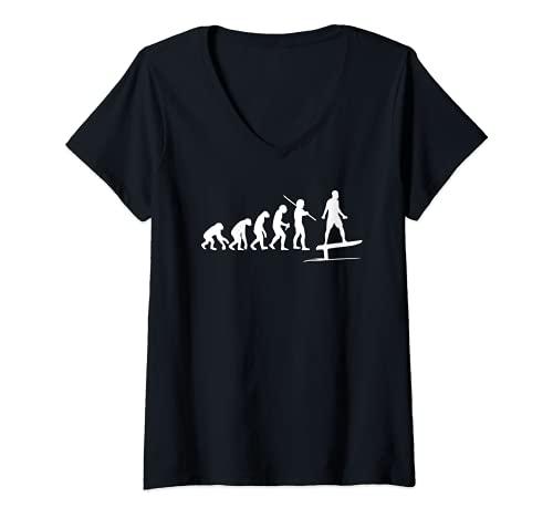 Mujer Efoil Tabla de surf de hidroala eléctrica Funny Evolution Camiseta Cuello V