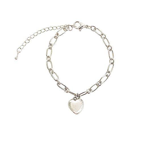 Pulsera con colgante de corazón para mujer de plata ajustable de acero inoxidable pulseras de cadena de joyería delicada para niñas..
