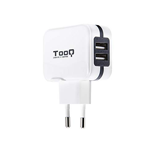 TooQ TQWC-1S02WT - Cargador de pared con 2 x USB (5V - 3.4 A, 17 W), con tecnologia AiPower, para iPad / iPhone / Samsung / Tablets / Smartphones, color BLANCO