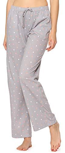Merry Style Pantalones Largos de Pijamas 100% Algodón Mujer MPP-001 (Gris/Puntos, S)