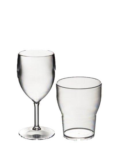 Roltex pique-nique Offre spéciale lot de 6 petits incassables et réutilisables Polycarbonate verres à vin en plastique de 200 ml jusqu'au bord) + 6 verres empilables Roltex Forme tulipe 250 ml/forme au bord)