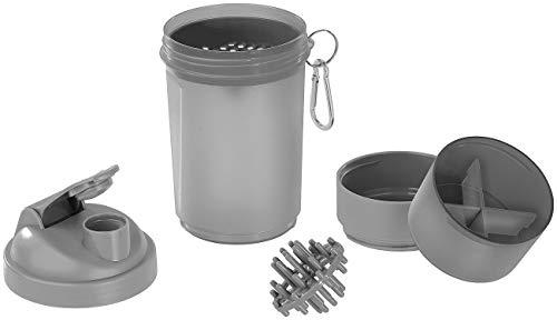 PEARL sports Shaker für Pulver: Fitness-Drink-Shaker mit 2 Pulverkammern & Mischball, 500 ml, BPA-frei (Shake Becher)