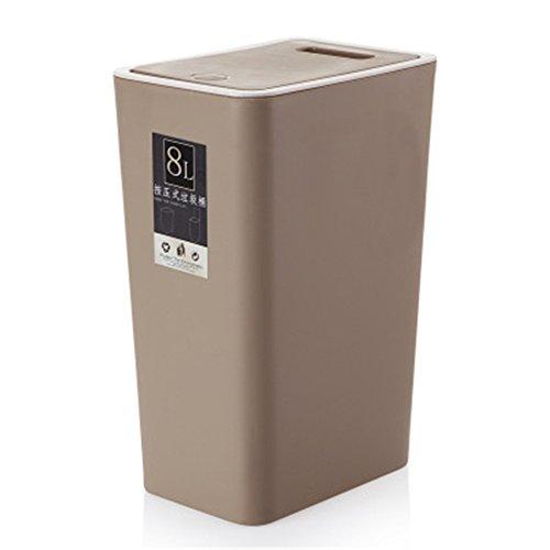 Haodou Cubo de Basura Cuadrado 8L Tipo de Cubierta de Presión Cubo de Basura de Cocina Sala de Estar Inodoro Papelera de Papel de Oficina Pedal de Pie para El Hogar (Marrón)