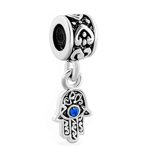 ZHANGCHEN 1PC Blue Evil Eye Hamsa Hand of Fatima Dangle Charm Hanging Pendant Fits Pandora European Bracelet