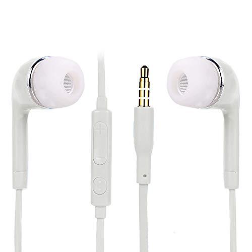 Colorful In Ear Kopfhörer, Ear Wired Stereo Ohrhörer Headset Headphones mit Mikrofon für Samsung Galaxy S3 / S4/ S5/ S6/S7/S8/S9 (Weiß)