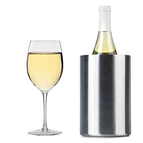 Cook's Fancy Double Walled Wine Chiller – Brushed Stainless Steel Finish – Insulated Wine Cooler/Champagne Bucket – Fits All 750ml Bottles – Keeps Bottles Cold