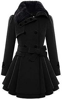 Chigant Women's Winter Pea Coat Double Breasted Coat Faux Fur Jacket Parka