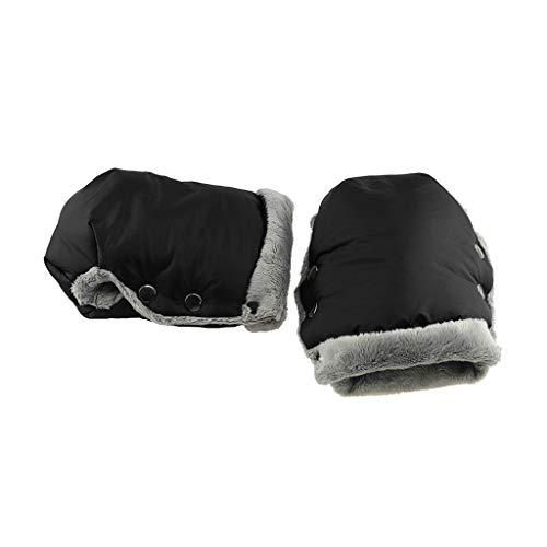 Manyo - 2 guantes para cochecito, protector de manos, manoplas cortavientos, impermeable, accesorio para cochecito anticongelante, guantes cálidos de invierno (negro)