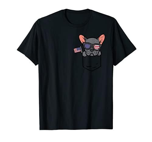 French Bulldog Pocket Frenchie American USA 4th Of July Dog T-Shirt