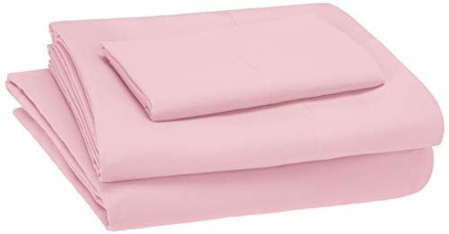 AmazonBasics Kid's Sheet Set - Soft, Easy-Wash Lightweight Microfiber - Twin, Light Pink