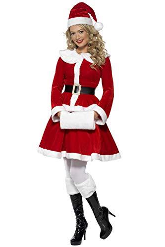 Smiffys Costume de Mère Noël, Rouge, avec veste, jupe, bonnet, ceinture et manchon