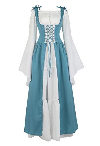 Famajia Womens Renaissance Costume Medieval Irish Over Dress and Trumpet Sleeves Chemise Boho Set Lake Blue Medium