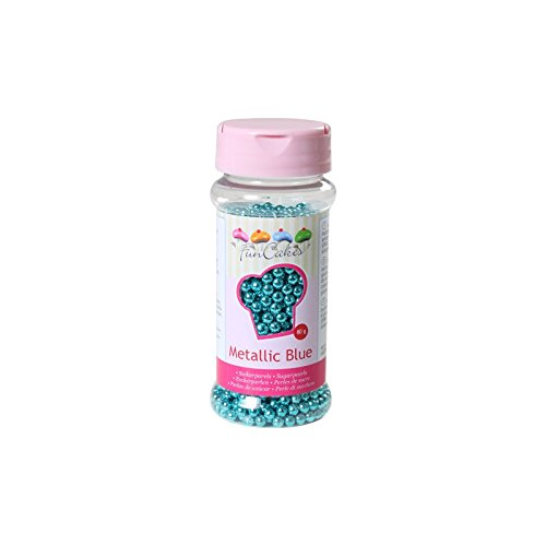 FunCakes Perlas de Azúcar -Azúl Metalizado