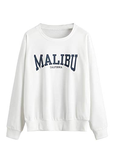 Verdusa Women's Casual Letter Printed Pullover Top Long Sleeve Sweatshirt