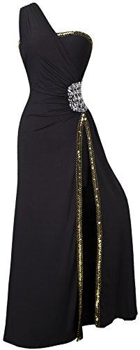 Angel-fashions Mujer Un Hombro de Split Izquierda Baile Vestido de Noche XX-Large Negro