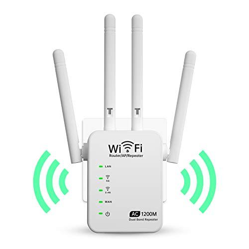 Ampliación de alcance wifi 1200 Mbps WiFi Señal Booster Repeater con 2.4 / 5 GHz Dual Band WAN&LAN Puerto Simple Setup Router