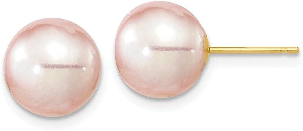 14k Yellow Gold 9-10mm Round Purple FWC Pearl Earrings
