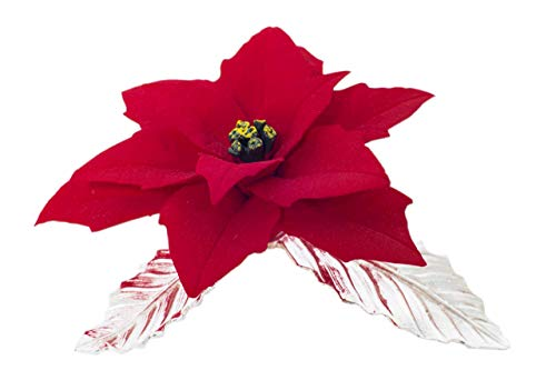 Estrella De Navidad Hecha A Mano En Porcelana Al Estilo Capodimonte De Unionporcelain Con La Marca Napoleon Sobre Hojas De Peltre Plateadas.