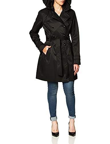 Guess Damen Double Breasted Trench Coat with Contrast Trim Trenchcoat, schwarz, Medium