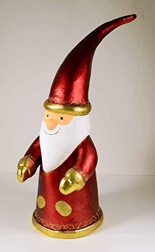 E + N Weihnachts-Mann Papá Noel Figura Santa-Claus Rojo Metálico H: 89cm Moderno Extravagante Extraordinaria