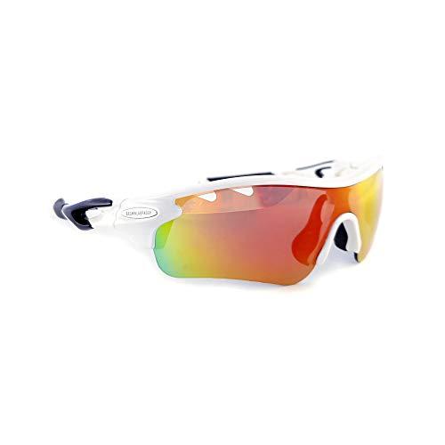Brown Labrador Polarisierte Radsportbrille mit 5 Wechselgläsern UV 400 Sportbrille Running Trail Running, Mountainbike, für Damen und Herren, Weiß, Schwarz