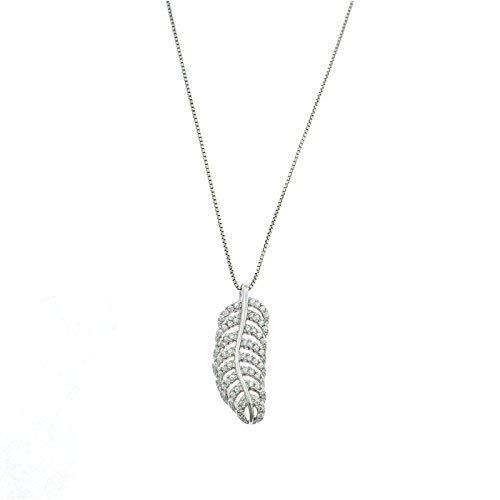 Pendentif feuille de zircone avec collier store vénitien extérieur 50 cm argent sterling hypoallergénique plaqué or blanc