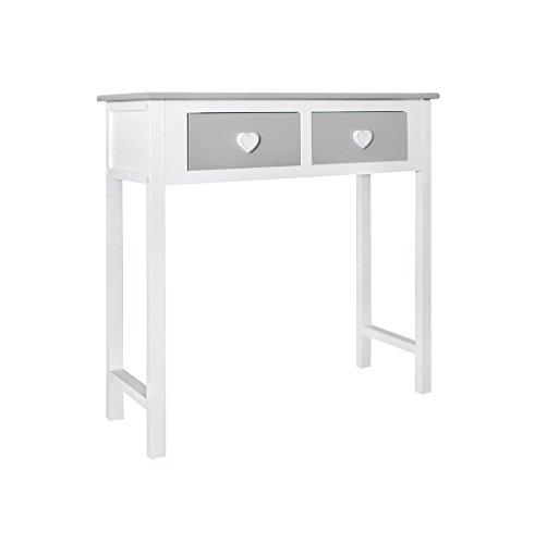 Rebecca Mobili Sekretär Weiß Grau, Konsolentisch für Kinderzimmer, Holz, Shabby-Stil, für Wohnzimmer Schlafzimmer – Maße: 80 x 80 x 30 cm (HxLxB) - RE4193