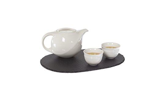 Tea Soul B6021357 Plateau Ovale À THÉ en Ardoise 30x20x0.5CM, Autre, Gris, 30X20X0,5 cm