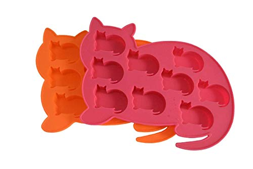 Jsmhh 2er-Pack Katze formte Silikon-Eiswürfelformen und Fach