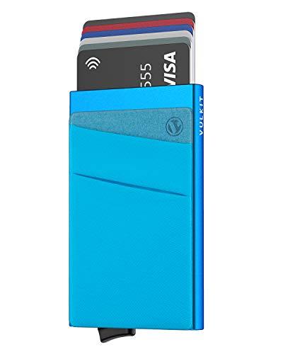 VULKIT Tarjeteros para Tarjetas de Credito Aluminio Automática Pop-up Tarjetero con Bolsillo Guardar Tarjetas y Billetes para Hombre o Mujer, Azul