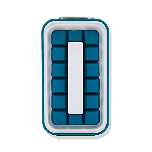 jwj Bandeja para cubitos de hielo, moldes para hacer barras de curling, bolsa de gel de sílice, botella de agua plegable con 32 celdas, molde para cubitos de hielo (color: azul)