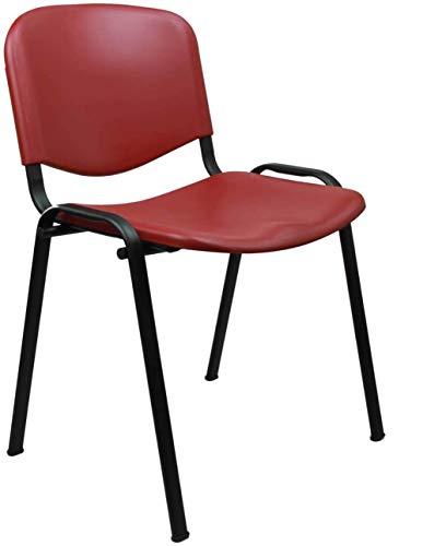 Kit 3 Sedie ufficio attesa in polipropilene impilabili perfette per ogni uso: studi medici, uffici, sale conferenza e meeting. Certificate CATAS (Rosso)
