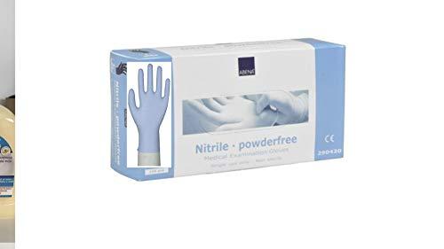 Einmalhandschuhe aus Nitril Abena blau L Gr. 9, puderfreie, unsterile Nitrilhandschuhe, 100 Stück/Box