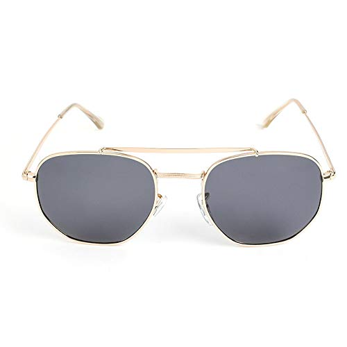 XUANTAO Personalidad Gafas de Sol Retro Metal Segunda Guerra Mundial Gafas de Sol clásicas Generales Hombres y Mujeres Gafas de Sol polarizadas Marco Dorado Película Gris
