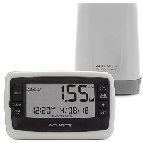 AcuRite Wireless Digital Rain Gauge with Self-Emptying Collector with Rainfall History, Alerts, and Current Date and Time (00899), Multicolor