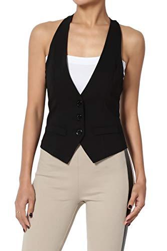 TheMogan Junior's Dressy Casual Racerback Slim Suit Vest Waistcoat Black L