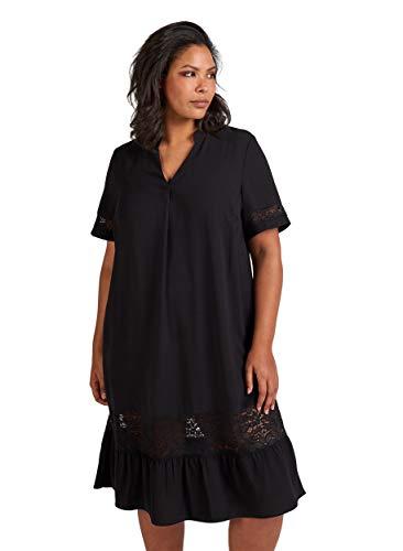 Zizzi Damen Große Größen Kurzarm Kleid mit Spitze Gr 42-56